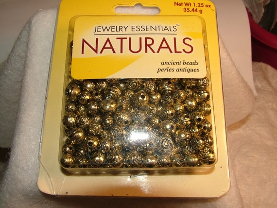 Beads, New in Package Gold Natural Round Rose Plastic Beads, Your Choice