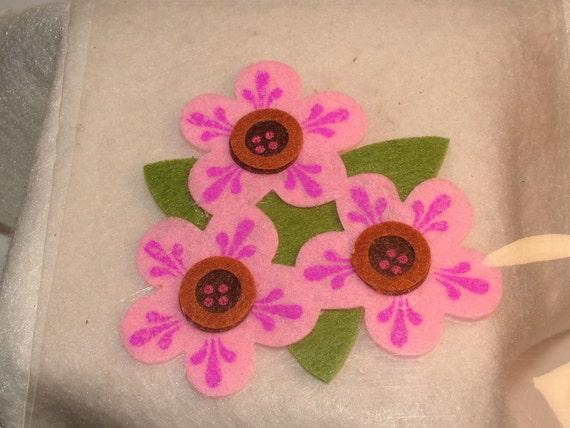 Felt Flower Stickers, 2 Large Pieces, Pink Flowers, Orange Flowers