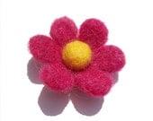 Pink Felted Flower Brooch