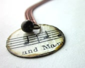 Sheet Music, book page necklace, literary necklace, Book page pendant