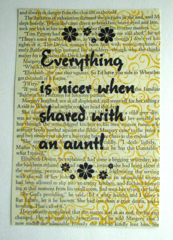 Aunt quote print on a book page