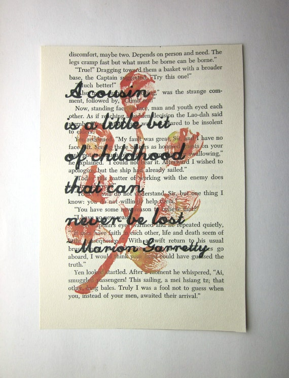 A cousin is a little bit of childhood that can never be lost print on a book page