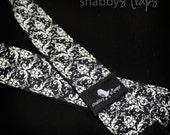 camera strap - black and ivory damask