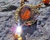 HOLD FOR Samantha-------Vintage Necklace ORANGE Glass and Filigree in Golden Honey