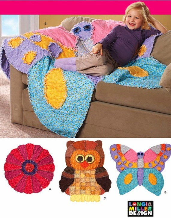 Rag Quilt Owl Pattern : OWL RAG QUILT Sewing Pattern Owls Butterfly FLower Quilts