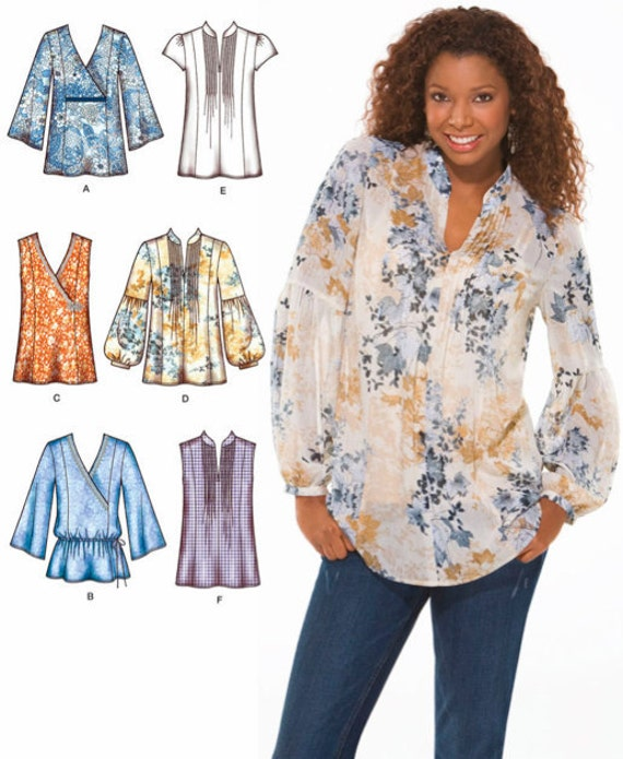 plus size tunic top sewing pattern peasant boho tops