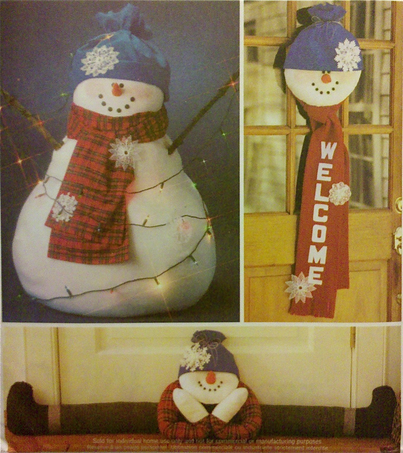 Snowman Sewing Pattern Door Hanger Draft Stopper Oversized