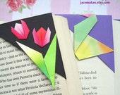 Origami Corner Bookmarks - Pink Blossoms, Crane