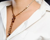 Reserved for Sybille - BROWN and CREAM Lariat Necklace - Sea and Sun Open Ended Necklace