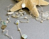 Bridal  White Crochet Lariat  - White Long Necklace Crochet Lariat with Beads