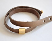 Camel Leather Multi-Wrap Bracelet with Metal Bead (gold platted)  for men and women - Autumn  bracelet