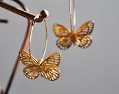 Reserved list for Sybille  - Gold Filled Hoops with 3D Butterflies