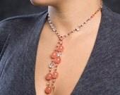 Reserved for Sybille - Fresh Cherry Quartz Pink Lariat Necklace - Pink Lariat Necklace