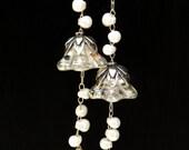 Reserved for-sybille -  Long Earrings for Wedding-  Bridal earrings - Long Silver Earrings with Iris Luster Trumpet Flower
