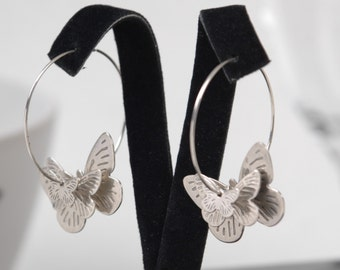 Butterfly Silver Hoops Earrings - 3D Butterflies on a pair of Silver Hoops