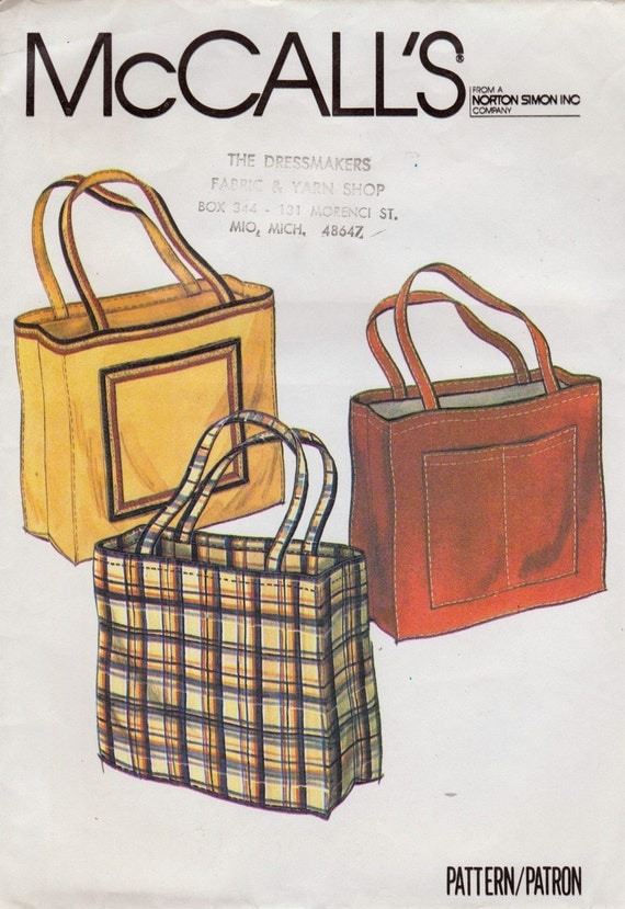 Vintage Tote Bag Pattern - McCalls - Circa 1980