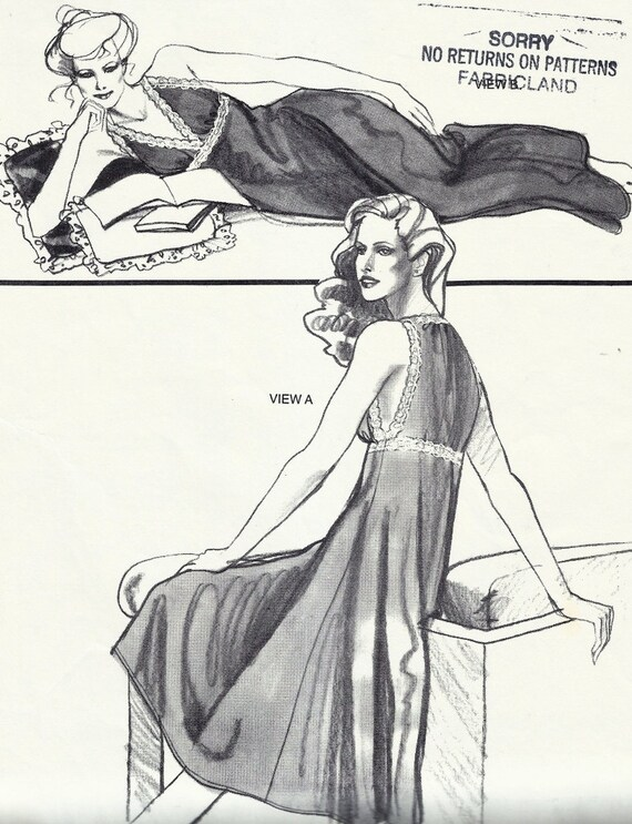 80s Negligee Nightgown Pattern Uncut Bust 30 - 44 Stretch and Sew 2090