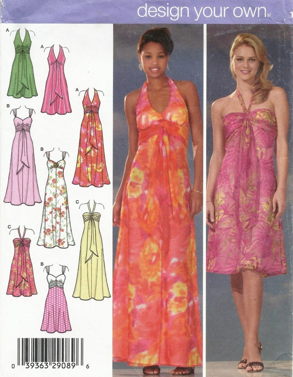 Halter Dress Pattern Uncut Size 4 6 8 10 Simplicity 4577 Design Your Own Dress