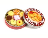 Traditional English Tin of Huntley and Palmer Biscuits - Dollhouse Miniature Food Handmade