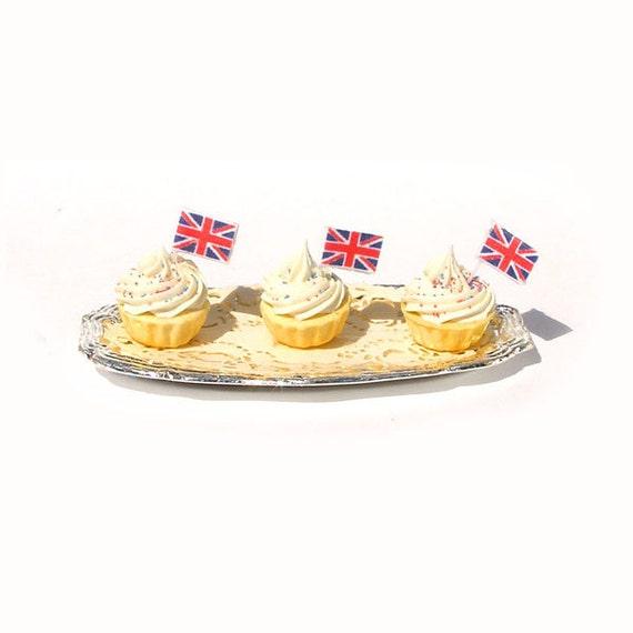 Diamond Jubilee Celebration Cupcakes  - Dollhouse Miniature Food Handmade