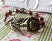 Pomegranate Rose - Antiqued Brass Rose and Pearl Bracelet