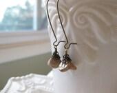 Petite Jardin - Antiqued Brass and Czech Glass Flower Earrings