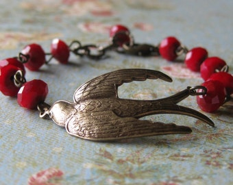 Soaring - Red Berry and Brass Bird Bracelet