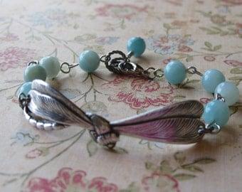 Flutter - Antiqued Silver Dragonfly and Amazonite Bracelet