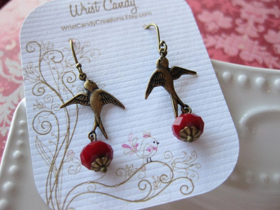 Soaring - Antiqued Brass Sparrow Earrings with Red Velvet Czech Glass