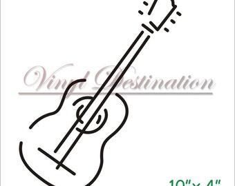 Acoustic Guitar Decal 10X4 Vinyl Guitar Decal