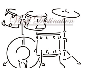 Vinyl Decal 10x12  Drum Set Decal