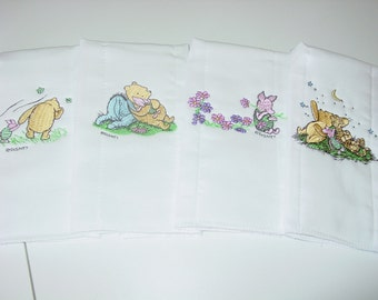 Classic Pooh embroidered burp cloths