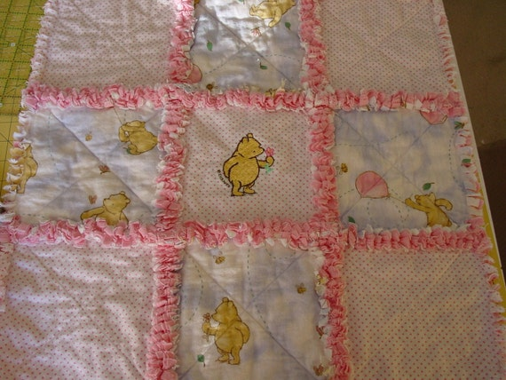 Classic Pooh baby girl rag quilt security blanket