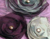 Set of 3 - Plum and Stormy Gray  with Amethyst Fresh Water Pearls