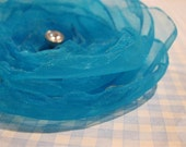Turquoise Organza Brooch or Hair Clip or Both - YOU choose-no extra cost
