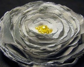 Stormy Gray  w/ Vintage Canary Yellow Beads Brooch or Hair Clip or Both - YOU choose-no extra cost
