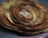 Golden Organza Satin Brooch or Hair Clip or Both - YOU choose-no extra cost