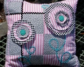 Handmade Vintage Patchwork Pillow Cover in Jadite Pink Black