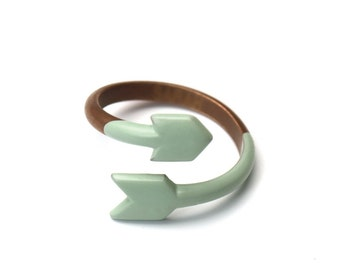 SALE - ARROW Ring - Copper and dipped enamel - Seafoam original