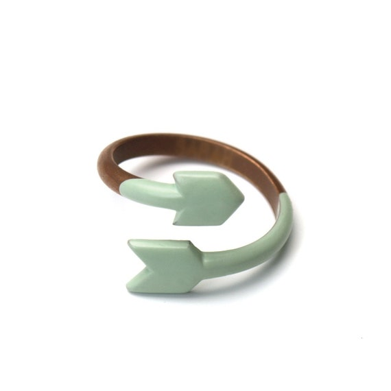 ARROW RING - Copper and dipped rubber - SEAFOAM