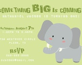 Elephant Birthday Invitation -- Printable Digital File -- 5 Colors to Choose From
