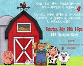 Barnyard Birthday Invitation -- 5x7 Digital File -- Print It Yourself