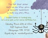 Itsy Bitsy Spider Birthday Party Invitation for Boys or Girls -- 5x7 You Print