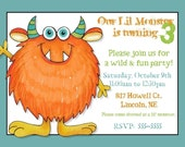 Monster Birthday Party Invitation -- 5x7 Digital File -- Print It Yourself