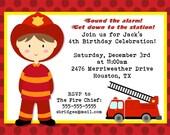 Fireman Birthday Invitation for Boys or Girls -- Printable Digital File