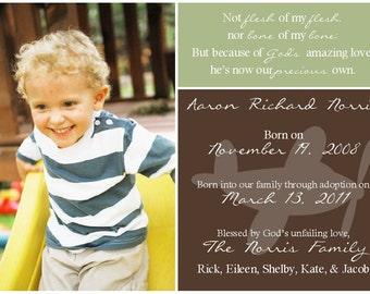 Adoption Announcement for Boy -- Printable Digital 5x7 File