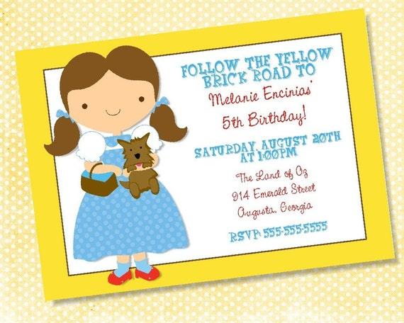 Wizard of Oz Birthday Invitation -- 5x7 Digital File