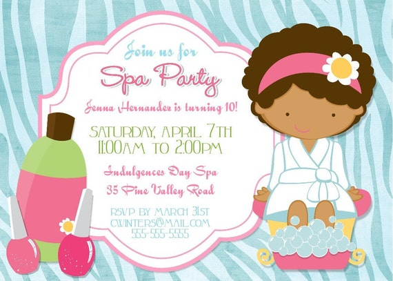 Pamper Party Invites as luxury invitation template