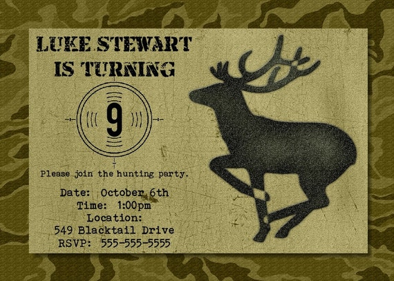 Hunting Birthday Party Invitation -- Printable Digital File