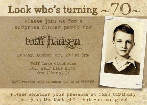 Milestone Birthday Invitation for Adults or Teens -- 5x7 Digital File -- Print It Yourself